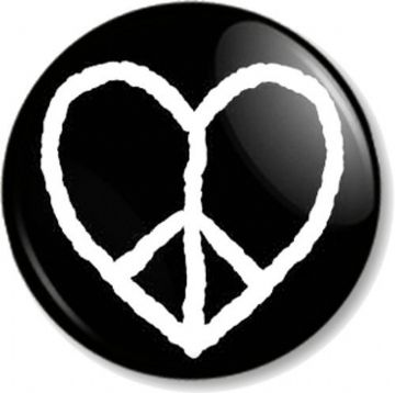 Peace Symbol Heart Pinback Button Badge Ban the Bomb Sign Hippie Love Flag